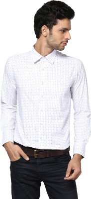 Saffire Men,s Printed Casual White Shirt