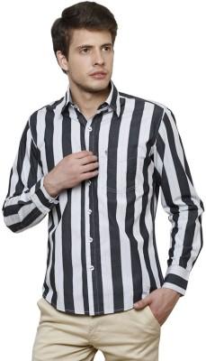 True Tittos Men's Striped Casual Black, White, Grey Shirt