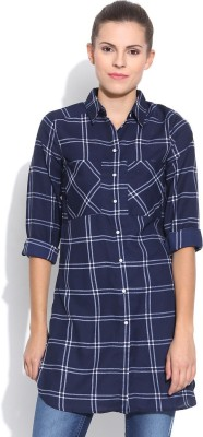 Silly People Women's Checkered Casual Blue Shirt