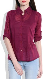 Queenyouapparel Girls Solid Formal Maroon Shirt