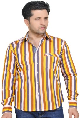 Ubho Core Men's Striped Casual Yellow, Grey Shirt