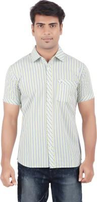 Anytime Men's Striped Casual Light Green, White Shirt