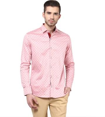 Invern Men's Self Design Casual Pink Shirt