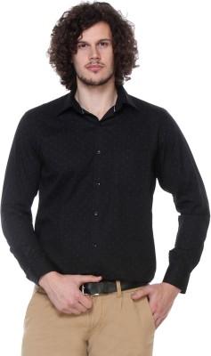 Hancock Men's Printed Formal, Casual Black Shirt