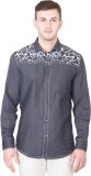 Desam Men's Printed Casual Black Shirt