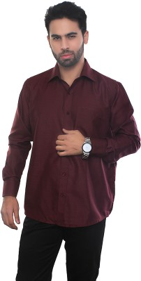 VinaraTrends Mens Solid Formal Maroon Shirt