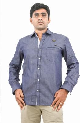 Argyle Men's Solid Casual Blue Shirt