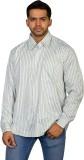 Ruti Men's Striped Formal Green Shirt