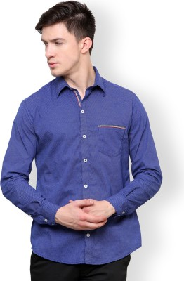 Blackbuk India Men's Printed Casual Blue, White Shirt