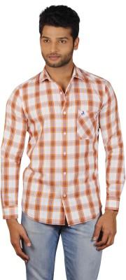 V Seven Men's Checkered Casual Orange, White Shirt