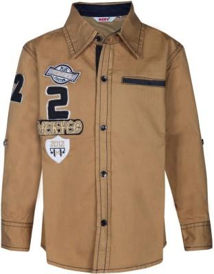MCKY Boy's Self Design Casual Brown Shirt