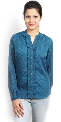 Bay & Blue Women's Printed Casual Blue Shirt