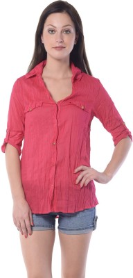 Florrie Fusion Women's Solid Casual Red Shirt