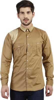 Marcello And Ferri Men's Solid Casual Brown Shirt