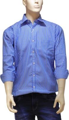 EXIN Fashion Men's Striped Formal Blue, White Shirt