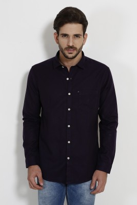 SIN Men's Solid Casual Linen Purple Shirt
