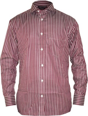 Groviano Men's Striped Formal Maroon Shirt