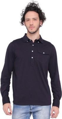 LUCfashion Men's Self Design Casual Blue Shirt