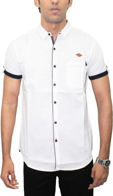 Kuons Avenue Men's Solid Casual, Party, Lounge Wear Linen White Shirt