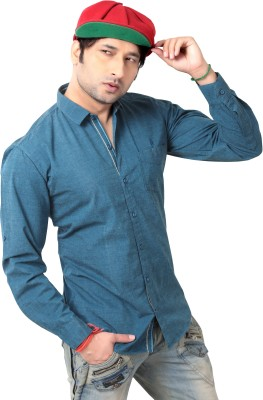 REDOX Men's Solid Casual Green Shirt