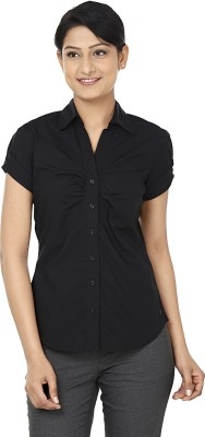 Wills Lifestyle Women's Solid Formal Black Shirt