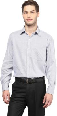 American Crew Men's Solid Formal White, Dark Blue Shirt