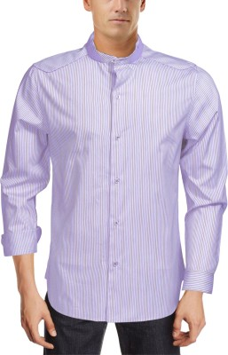 Roar and Growl Men,s Striped Casual Purple, White Shirt