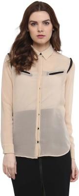The Office Walk Women's Solid Formal Beige Shirt