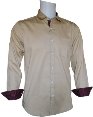 Ardeur Men's Solid Casual, Festive, Party Beige Shirt