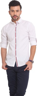 Exitplay Men's Printed Casual White, Dark Blue, Red Shirt