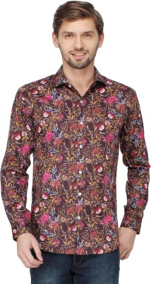 Mayank Modi Men's Floral Print Casual Red Shirt