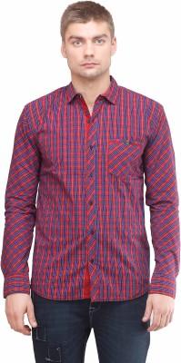 Sleek Line Men's Checkered Casual Red Shirt