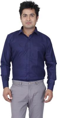 Aces Blue Men's Solid Formal Linen Dark Blue Shirt