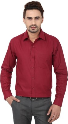 Royal Kurta Men's Solid Formal Red Shirt