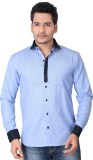 Brinley Men's Solid Casual Blue Shirt
