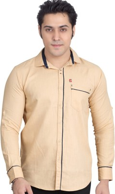 Private Image Men's Solid Casual, Party Beige Shirt