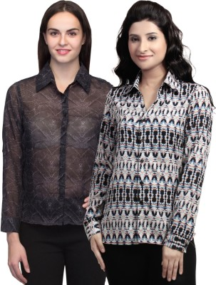Wisstler Women's Printed Casual Multicolor Shirt