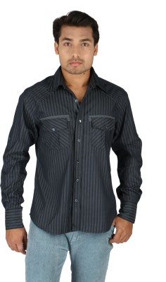 TomBerry Men's Striped Casual Blue Shirt