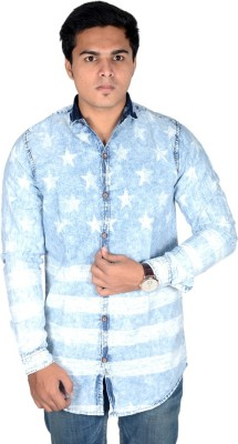 Yomaa Men's Printed Party Denim Blue Shirt