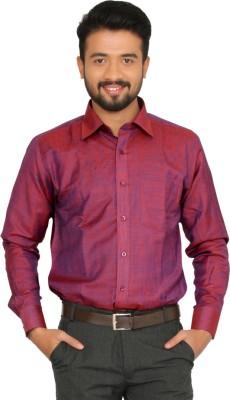 Indian Weller Men's Self Design Casual Red Shirt