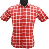 BK Black Men's Checkered Casual Red, Whi...