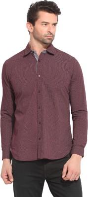 Leo Sansini Men's Solid Casual Maroon Shirt