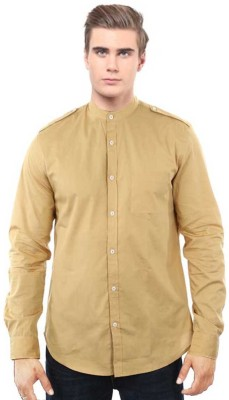I CUBE CLUB Men's Solid Casual Brown Shirt