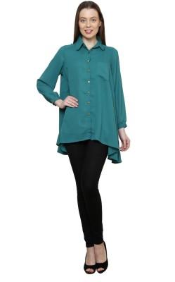 Gossip Girls Women's Solid Formal Green Shirt