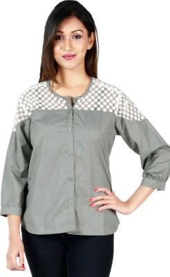 Faireno Women's Solid Casual Grey, White Shirt