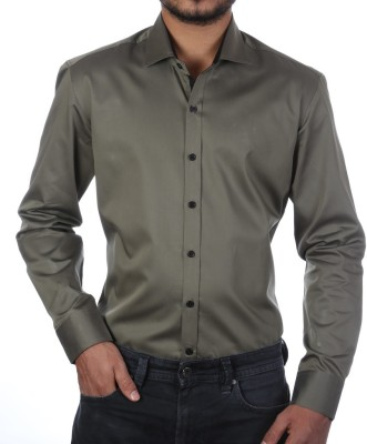 FORTY ONE FITZROY Men's Solid Casual Green Shirt