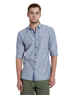 Breakbounce Men,s Solid Casual Blue Shirt