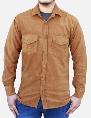 Yzade Men's Striped Casual, Party Beige Shirt