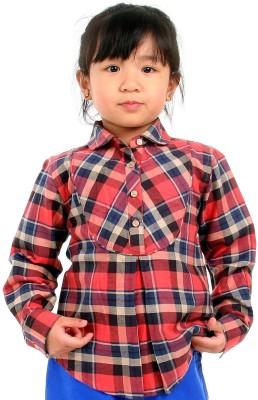 Cherry Crumble California Girl's Checkered Casual Red Shirt