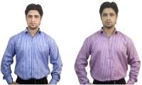 Kvm Formal Shirts (Men's) - KVM Men's Striped Formal Multicolor Shirt(Pack of 2)